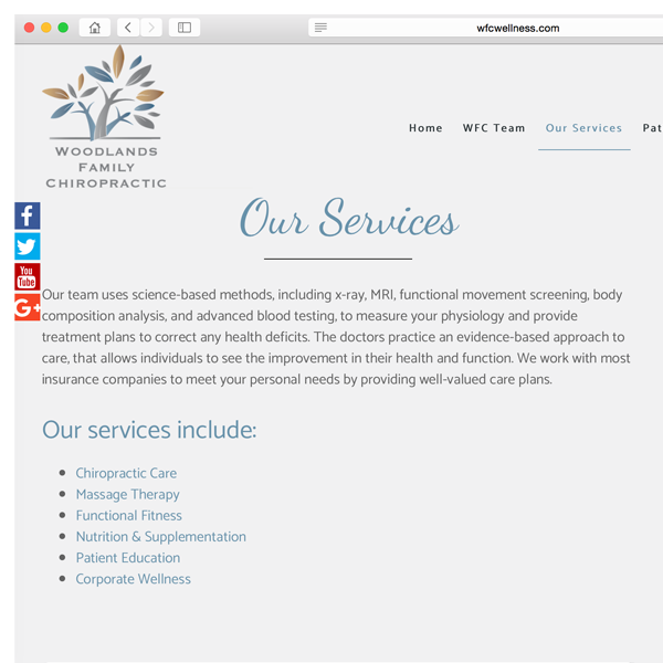 Woodlands Family Chiropractic // Website